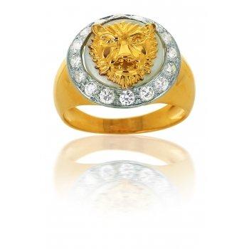 Avenuedubijou - Anello chevalier da uomo, in oro giallo 750/1000, con zirconi e madreperla e In oro giallo 750/1000, 30, cod. aj6321N-70