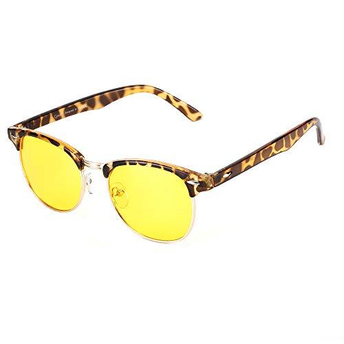 Blaulichtfilter Brille,Blaulicht blockierende Computerbrille Halbrandlose Browline Gelbe Linse Männer/Frauen