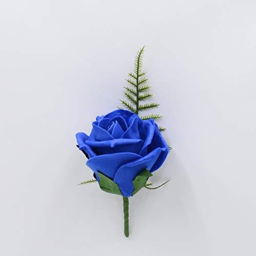 Fiori artificiali matrimonio mano-realizzato da petali Polly, rosa di schiuma asola in blu royal