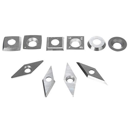 CNC Insertos de Carburo 10pcs inserciones de carburo de carburo surtido cuchillas cortadoras diamante cuadrado redondo de madera torneado trabajando herramientas de torno cortadores Insertos de Torno