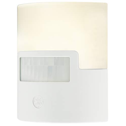GE Ultrabrite Motion-Boost LED Plug-in, Dusk-to-Dawn Sensor, 3 to 100 Lumens, Automatic Night Light, Ideal for Pantry, Bathroom, Utility Room, Garage, Closet, & More, White, 28585