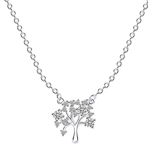 Holibanna Colar de prata esterlina S925 com pingente de árvore da vida, pingente de árvore genealógica, joia de presente para mães e mulheres