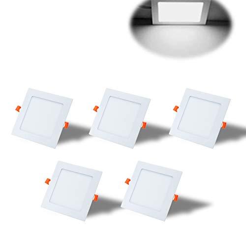 Yafido 5er Led Panel Ultraslim Einbauleuchte 12W ersetzt 70W Halogen 6500K 960 Lumen Eckig Spot Kaltweiß Deckenlampe 230V Flach Einbaustrahler mit Teriber Nicht-dimmbar Ø170 x 11 mm