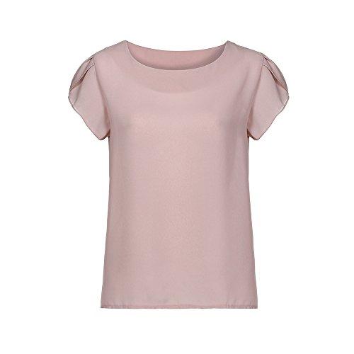TWIFER Damen Sommer T Shirt O Hals Chiffon Solide Kurzarm Bluse Tops Kleidung Tee Shirts