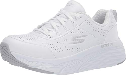 Skechers Women's MAX Cushioning Elite-Step UP Sneaker, White/Silver, 11 Medium US
