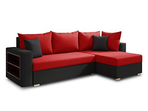 Ecksofa Lord mit praktischen Regal - Sofa mit Bettkasten und Schlaffunktion, Schlafsofa, Polsterecke, Couch L-Form, Couchgarnitur, Sofagarnitur (Schwarz + Rot (Alova 04 + 46), Ecksofa Rechts)