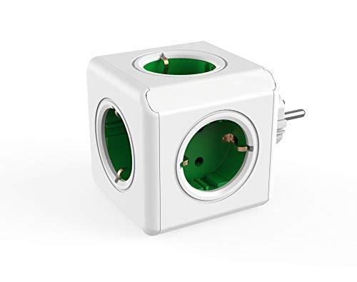 Dr. Bott Regleta Multi-Cubo Original, Adaptador de Viaje con 5 enchufes no superpuestos y ladrón de Escritorio sin Cable, Estilo Schuko de 230 V, Verde/Blanco