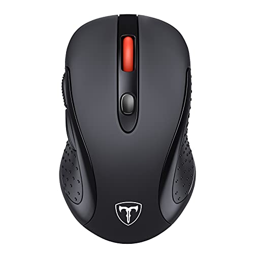 Cordless Mouse, 2.4G Wireless Mouse, USB Ergonomic Computer Mouse with 5 Adjustable DPI, Page Down/Up Buttons, 20 Months Battery Life , Designed for PC, Desktop, Laptop(Black)