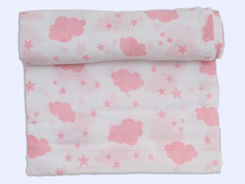 Ti-TIN - Muselina de Algodón Extra Suave | Muselina Grande para Bebé, Paño de Muselina Suave, 100% Algodón, Estampado de Nubes, Color Rosa, 120x120cm