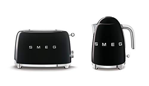 Smeg KLF03BLUK 1.7Ltr - 3kw Stainless Steel Kettle and TSF01BLUK 2 Slice Toaster Set in Black