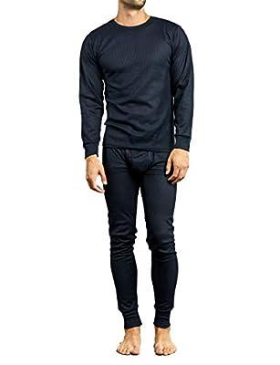Men's 2pc Long Thermal Underwear Set (Navy, Large)