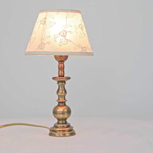 Tischleuchte Weiß Stoffschirm Echt-Messing Jugendstil E14 Handarbeit Premium Tischlampe Nachttisch Wohnzimmer