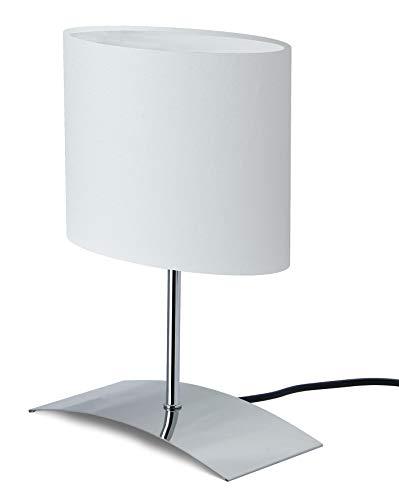 Trango 2018-04W Nachttischlampe *WHITE HOUSE* Tischleuchte, Nachttischlampe, Schreibtischleuchte, Tischlampe, Fensterbank Leuchte mit Stoffschirm in Weiß - L: 200mm – B: 100mm - H: 300mm