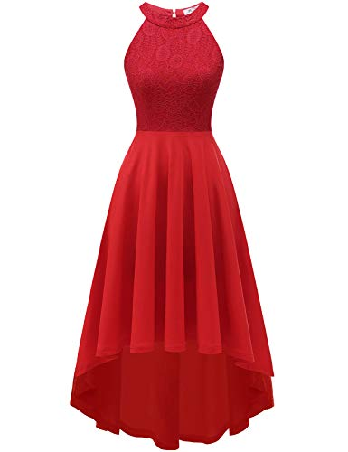 YOYAKER Damen 50er Vintage Rockabilly Kleid Neckholder Cocktailkleid Spitzen Vokuhila Festliche Party Abendkleider für Hochzeit Red S