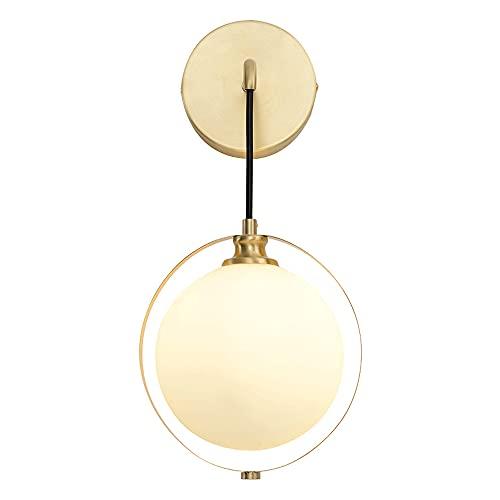 WANQINV Luces de Pared de Cobre Completo H65 de Lujo Simples y Ligeras LED G9 Aplique de Pared Pantalla de Vidrio Lámpara de Pared Lámpara de Pared de Interior Lámparas para mesita de