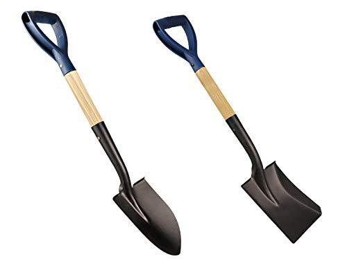 2 tlg Set Mini-Spaten mit Holzstiel 700 mm Länge Mit D-Griff eckig und rund
