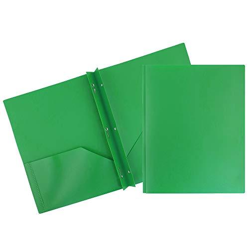 JAM PAPER Plastic 2 Pocket School POP Folders with Metal Prongs Fastener Clasps - Green - 6/Pack