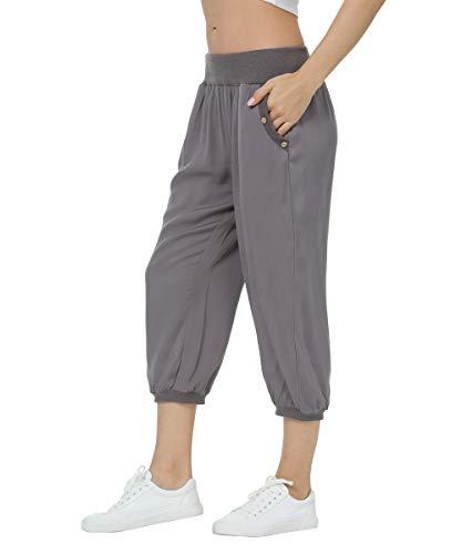 Dilgul Damen 3/4 Länge Haremshose Pumphose Sommerhose Yogahosen Capris Crop Hose Elastische Taille mit Knopf Baggy Weite Hose