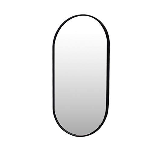 Nordic Metal Espejo para Colgar en la Pared Espejo Ovalado para Maquillaje Espejo de baño HD (Negro) Moderno Creativo con Fijaciones Colgantes