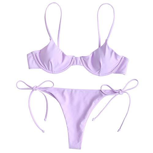 ZAFUL Women's Underwire Push Up Balconette Tie Side String Bikini Set Swimsuit (Mauve, S)