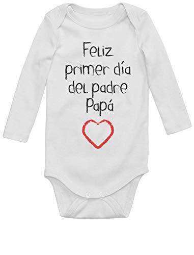 Body de Manga Larga para bebé - Regalo Padre Bebe - Feliz Primer Día del Padre - 12M Blanco