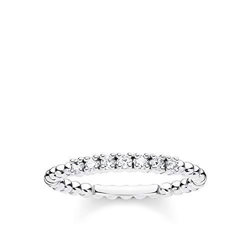 THOMAS SABO Damen Ring Kugeln mit weißen Steinen Silber 925 Sterlingsilber TR2323-051-14