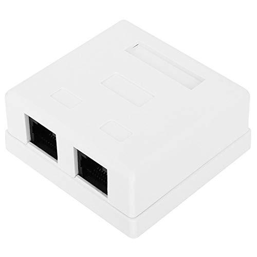 Caja de conexiones eléctricas RJ45-8P8C, conector de redes de puerto dual Cat 6 Caja de información de escritorio montada en la superficie