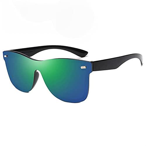 YWSZY Gafas de Sol One Piece Sunglasses Men's Big Beige Nails Ladies Gafas de Sol Lujo Colorido Colorido Gafas de Sol Rosa Espejo Espejo Señoras (Lenses Color : Green)