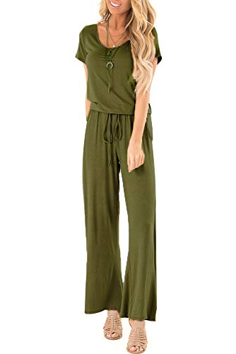 sullcom Women Summer Solid Sleeveless Wide Leg Jumpsuit Casual Spaghetti Strap Stretchy Long Pant Rompers (Medium, B-Army Green)