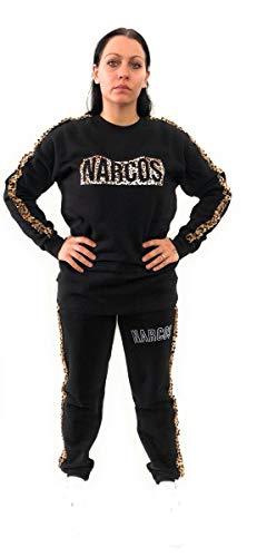 Narcos Sweatshirt mit Aufdruck Animalier und Logo mit Strass, Schwarz M