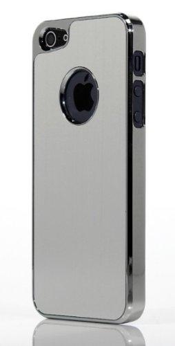 itronik Hülle kompatibel mit Apple iPhone 5 5S Cover Alu Hülle Schutz Hülle Metall Bumper Chrom Aluminium
