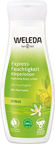 WELEDA Citrus Express Feuchtigkeit Körperlotion – Erfrischende Naturkosmetik Body Lotion zur schnellen Pflege aller Hauttypen (1x 200ml)
