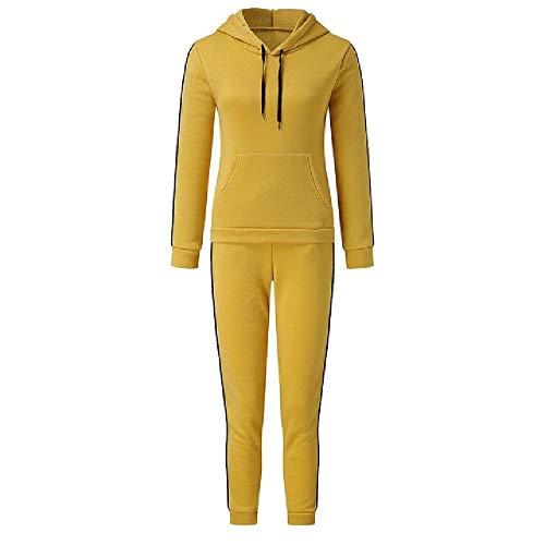 Damen Zweiteiliger Sportanzug Fashion Fleece Pullover Bluse und Hose Gym Wear Set Damen Jogging Trainingsanzug Gr. L, gelb
