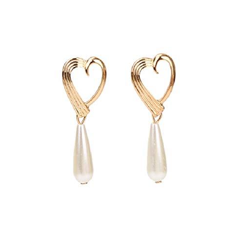 Irregular Shaped Pearl Beads Pendant Earings for Women Geometric Multi-Layer Love Heart Shape Creative Earrings Ladies Jewelry Evangelia.YM (Gold)