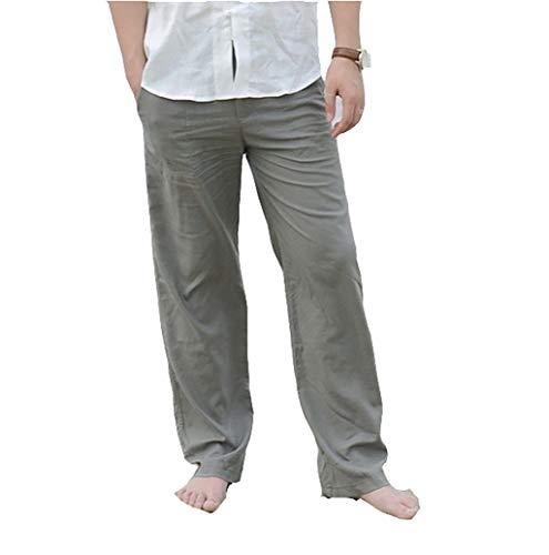 Kenebo Pantaloni da Uomo in Lino di Cotone Pantaloni da Uomo Kung Fu Pantaloni Mens Estivi Sottili Pantaloni Casuali Army Green 5XL/52EU