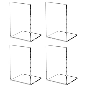 HIIMIEI Book Ends 4 Packs Clear Acrylic Non-Slip Bookends for Shelves and Desktops Transparent Book Stoppers for School Office Library 7.3×4.7×4.7inch