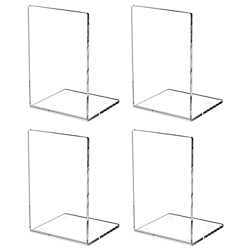 HIIMIEI Book Ends 4 Packs Clear Acrylic Non-Slip Bookends for Shelves and Desktops Transparent Book Stoppers for School Office Library, 7.3×4.7×4.7inch