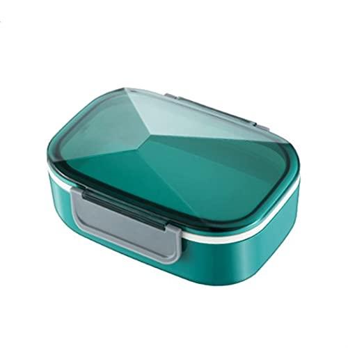 SONG Caja de Almuerzo de plástico Doble Capa a Prueba de Fugas 3 Compartimentos Bento Contenedor con Cuchara Tenedor Almuerzo Bento Cajas Lunchbox con Cubiertos