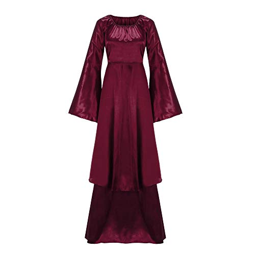 Shinehua Middeleeuws kostuum dames heks kostuum lange mouwen middeleeuwse jurk gothic vintage prinses renaissance bodemlengte maxi-jurk voor volwassenen carnaval carnaval