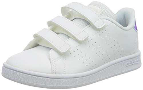 adidas Advantage C, Scarpe da Tennis, Ftwr White/Silver Met./Ftwr White, 34 EU