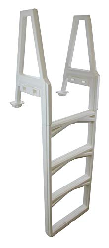 CONFER 635-52 Adjustable In-Pool Above Ground Swimming Pool Ladder 48-56' w/ Mat