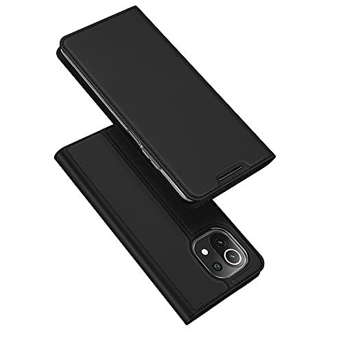 DUX DUCIS Funda Xiaomi Mi 11 Lite 5G / 4G, PU Cuero Flip Carcasa Fundas Móvil de Tapa Libro para Xiaomi Mi 11 Lite 5G / 4G (Negro)