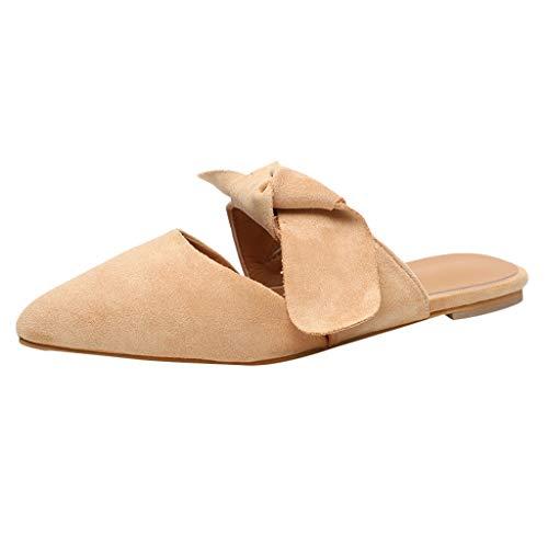 Mule for Women - Women's Pointed Toe Ballet Flat Comfort Slip On Cute Bow Tie Mule Shoes Beige