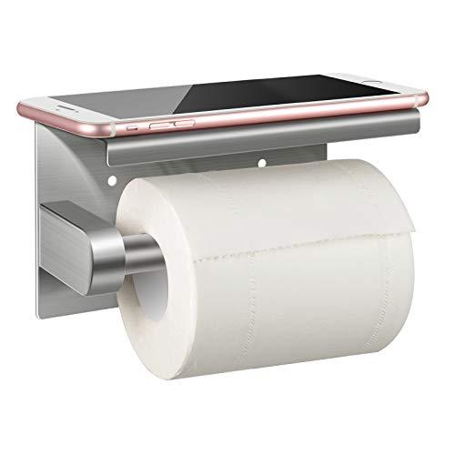 Abree Toilettenpapierhalter Ohne Bohren mit Ablage, WC Papierhalter Edelstahl WC Papier Halterung mit Mobiler Telefon Aufbewahrungsfläche Wand Montage, Selbstklebend