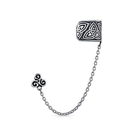 Keltisch Irisch Trinity Triskele Wickeln Knorpel Ohrstulpe Ohrringe Kette Durchbohrt Ohr Ohrstecker 1 Stück 925 Silber