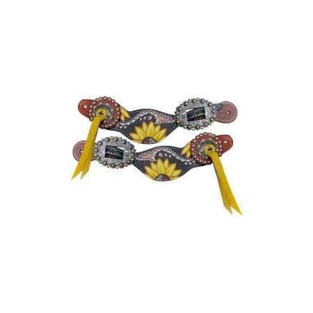 Showman Sunflower and Cactus Overlay Spur Straps with Multi Color Rhinestone Buckles