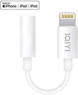 IQIYI [Apple MFi Certified] Lightning to 3.5 mm Headphone Jack Adapter Charger Cable Compatible iPhone 7/7 Plus/8/8 Plus/Xs/XR/X/11/11pro/11Pro max,with Mic&Remo Music Control&Calling Support All iOS