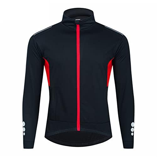 Maglia Ciclismo Manica Lunga Abbigliamento, InvernoTermico Vello Giacca Maglia Maglietta, Sportivo per Bicicletta,Mountain Ciclismo Jerseys (Black,5XL)