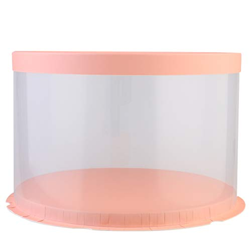 Cabilock Plastikkuchenboxen Papierdeckel Durchsichtige Kuchenboxen Hochzeit Runde Kuchenvitrine Verpackung Geschenkboxen -8 Zoll (Pink)
