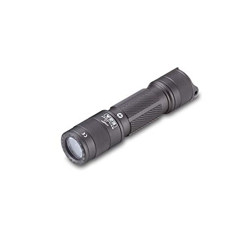 E2A 14500 AA EDC Pocket Keychain Flashlight, Super Bright 600 Lumens, Waterproof, for Camping Hiking Emergency (E2A High CRI Metal grey with AA battery)